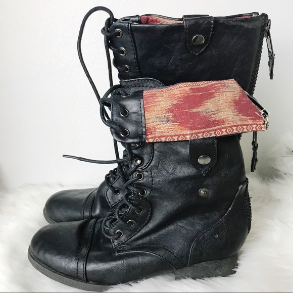 Folded Down Combat Boots